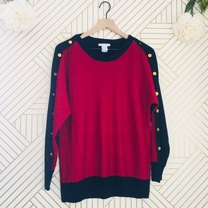Joan Vaas | NWOT Gold Button Detail Sweater Petite